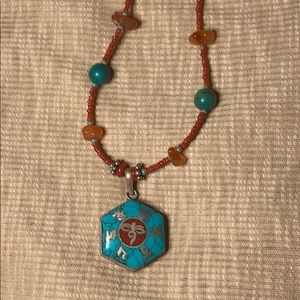 SALE Turquoise coral necklace